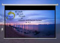 lazer lcd ekranı toptan satış-Elektrik perdeleri 60ich 72 inç 84 inç veya 100 inç 16: 9 veya 4: 3 Tüm LED LCD DLP Lazer Projektör için Motorlu Ekran Elektrik Projektör Ekranı