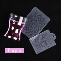 Wholesale stamper scraper set resale online - Mirror Nail Stamper Scraper Set Clear Silicone Head Polish Print Transfer For Stamping Plate Nail Art Template Tools