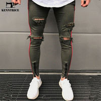 модный уличный хип-хоп оптовых-KENNTRICE Hiphop Fashion Destroyed Jeans Men`s Boyfriend Punk Slim Fit Men Zip  Biker Ripped Denim Jeans Street-Wear