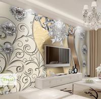 luxus-gold-tapete großhandel-Bacal Benutzerdefinierte Fototapete 3D Geprägte Goldschmuck Blume Wandbild Moderne Wohnzimmer TV Hintergrund Wandmalerei Luxus Decor