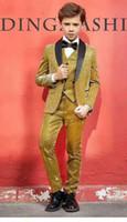 ingrosso ragazzi gialli-Giallo brillante ragazzo Occasioni formali Smoking Nero Shawi Risvolto One Button Bambini Smoking da sposa Vestito da bambino Abiti da festa (Jacket + Pants + Tie + Vest) 6