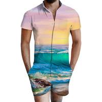 ternos mistos homens venda por atacado-Homens de verão Conjuntos de Cores Misturadas Designer de Onda Impressão V Pescoço 2 pc Suits 3d Homens New Casual Shorts Moda Mens clothing