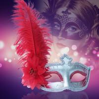 karnaval kostümleri tüyleri toptan satış-Cadılar bayramı Yarım Yüz Lady Maske Tüy Masquerade Karnaval Maskesi Masquerade Kızlar Kadınlar Kostüm Düğün Maskeleri