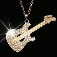 Wholesale instrument necklaces for sale - Group buy Hip Hop Style Fashion Zircon Guitar Musical Instrument Shape Pendant Necklaces Women Clavicular Chain Neck Decoration