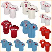 tamaños de jersey de base fresca al por mayor-Phillies Jersey 3 Bryce Harper Filadelfia 17 Rhys Hoskins 27 Aaron Nola Béisbol Jerseys Hombre Flex Cool Base Retro Malla tamaño m-xxxl