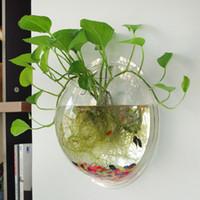 çiçekler için saksı vazolar toptan satış-Teraryum Topu Küre Şekli Temizle Asılı Cam Vazo Çiçek Ekici Tencere Duvar Balık Tankı Akvaryum Konteyner Homw Dekor