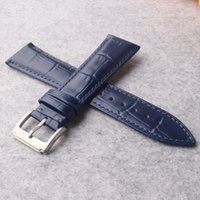 Wholesale 19mm watch buckle for sale - Group buy New Dark Blue Genuine cowhide Leather mm mm mm mm mm watches strap Belt Watchband Pin Clasp Buckle for wristwatch men