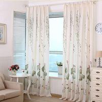 маленькие шторы оптовых-Modern Small Fresh Lotus Leaf Printed Blackout Drapes Curtains For Living Room Bedroom Kitchen Window Household Shade Curtain