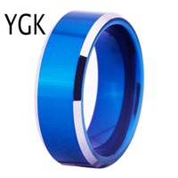 Wholesale wedding ring blanks resale online - Hot Sales MM Width Blue Color With Shiny Bevel Custom Ring Blank Ring New Men s Fashion Tungsten Wedding Ring V191128