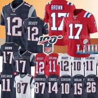 ingrosso maglie-12 Tom Brady Nuova Englan patrioti Jersey # 17 Antonio Brown Jersey 11 Julian Edelman 87 Rob Gronkowski 26 Sony Michel 10 Josh Gordon