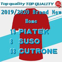 jersey rojo 13 al por mayor-2020 # 13 ROMAGNOLI # 19 PIATEK Home Red Soccer Jersey 2019/2020 # 8 SUSO # 10 CALHANOGLU Juego Fútbol Camiseta Uniforme de Fútbol Personalizado En Ventas