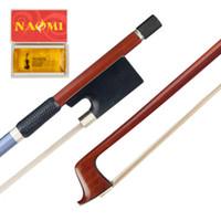 ingrosso argento ebano-NAOMI Brasile Pernambuco Violino Bow + Rosin Ebony Rana Blu Argento Seta Alta qualità Accessori per violino di alto livello