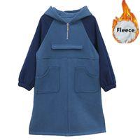 vestido de bloque de color azul al por mayor-niños muchachas de la manera del color-bloque de la moda de invierno vestido de cambio de lana con capucha muchachas de los niños de bolsillo azul vestidos flojos ocasionales