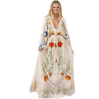 высокие платья вышивки шеи оптовых-Весна лето женщины хлопок V шеи старинные вышивка высокая талия свободные платья с длинным рукавом Макси длинное платье женский Vesdido