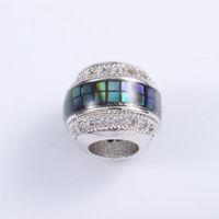 conta de pingente de abalone venda por atacado-Singreal abalone shell micro pave beads encantos pulseira colar choker pingente conectores para as mulheres diy fazer jóias