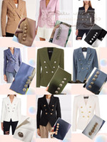 trajes de versión al por mayor-Balmain primavera otoño invierno versión personalizada de gama alta de BALMAIN traje delgado delgado doble fila hebilla plateada chaqueta de traje pequeño hembra