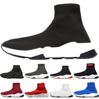 Wholesale cotton football socks for sale - designer men women Speed Trainer fashion Luxury Sock Shoes black white blue glitter Flat mens Trainers Runner sneakers size