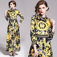 balo elbiseleri kolları baskı toptan satış-Lüks Tasarımcı Barok Baskı Pist Elbiseler Kadınlar Plus Size İlkbahar Sonbahar Moda Seksi Parti Balo Bayanlar Uzun Kollu Maxi Gömlek Elbise
