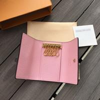 porta-chaves venda por atacado-LB03 Frete grátis de Alta qualidade Famosa marca new mulheres homens clássico 6 chave titular capa de luxo chaveiro com box.dust bag, anel chave do cartão