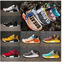lazos de crema al por mayor-2019 PW Human Race Hu Trail Hombres zapatos casuales Pharrell Williams Nerd Negro Blanco Crema Tie Dye Sun Glow para mujer Zapatillas deportivas 36-47