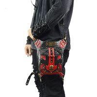 ingrosso borse di roccia rosse-Punk Skull Marsupi da uomo Borsa da moto vintage in pelle nera Rivetti in pelle nera Borsa a tracolla Moda vintage Rock Borse da donna