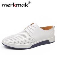 ingrosso buco di scarpe in pelle uomo-Casual Shoes Merkmak marca estiva da uomo in pelle di moda fori traspiranti bianco per il tempo libero pattini degli appartamenti Big Size 37-48 driver
