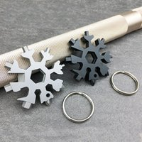Wholesale wrench key rings resale online - Multi Function Key Chain Ring EDC Outdoors Tools Card Stainless Steel Snowflake Combination Wrench Colors Mix Portable Flexible apf1