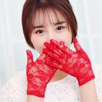 Wholesale pink gloves sale resale online - Sale Summer Elegant Romantic Ladies Lace Gloves White Red Wrist Length Short Gloves Women Accessories