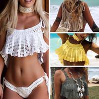 ingrosso costumi da bagno fatti a mano-2019 New Sexy Handmade Crochet Bikini Cotton Crop Top bikini Ruffled Swimwear lavorato a maglia Donne Bikini Brasiliano Halter Beach Costume da bagno Cover Up