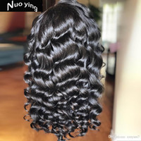 Wholesale brazilian french curl hair for sale - Group buy French Curl Human Hair Wigs Baby Hair Bleached Knots Brazilian Remy Lace Frontal Wigs Pre plucked Density Wigs BF28