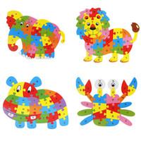 harfler ahşap yapboz toptan satış-Renkli Ahşap Bulmaca Hayvanlar Fil Aslan Jigsaw ABC İngilizce Harfler Bulmacalar Alfabe Öğrenme Oyuncak Çocuk Çocuk Hediye Için
