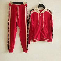 ingrosso giacche rosse con cappuccio-2019 Black / Red Knitting Giacche e pantaloni lunghi Designer 2 pezzi Set per donna Logo Letter Zipper Hooded Giacche e pantaloni lunghi Sets 728