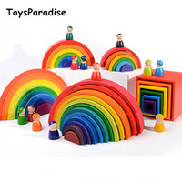 Wholesale wooden shapes toys for kids resale online - Dropshipping Rainbow Blocks Semicircle Pegdolls Wooden Toys For Child Balls Cove Box Kids Toys Shape Kit Eduactional Gift MX190730