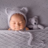 Wholesale doll toys color resale online - Angora Bonnet Newborn Knit Classic hat and toy set New Born Photography Props cap baby doll propsMX190917