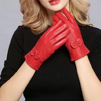 ingrosso guanto in pelle opera-Cuoio genuino delle donne caldo di inverno dei guanti guanto signore reale delle pecore di cuoio ragazze di guida femminile di modo di lusso di lana foderato Guanti