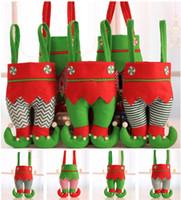 adornos de elfo al por mayor-Estilo caliente Elf Stocking Decoraciones de Navidad Adorno Navidad Bolsa de dulces Festival Accesorios de fiesta Regalos bolsas Decoraciones de Navidad T5I019