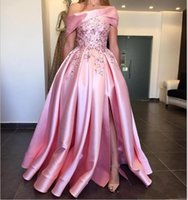 Wholesale custom side cap for sale - Group buy 2020 New Luxury A Line Prom Dresses Off Shoulder Appliques Beads Ruffle Side Split Backless Plus Size Dubai Style Party Gowns Evening Dress