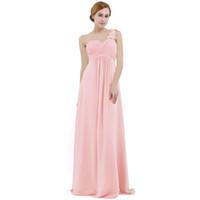розовое платьевское шифоновое платье для подружки невесты оптовых-Розовое шифоновое платье невесты с высокой талией длиной до пола на одно плечо плиссированное кружево свадебное платье невесты платье выпускного вечера