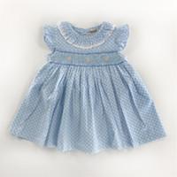 ingrosso bambine blu bambina si veste-Ragazze Abiti nuovi fiori Bambini Principessa Bambino Stampati Abito con puntino Le piccole neonate Abbigliamento Bambini Abiti estivi Baby