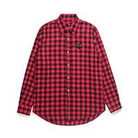 cardigans vermelhos mens venda por atacado-Dos homens do desenhista camisas Commes jogar japonesa Coração Emoji des Garçons roupa fora de mangas compridas Homens Mulheres Algodão Branco Red Cardigan CDG shirt