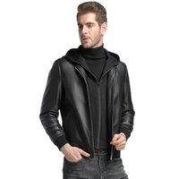 Wholesale men s hooded leather outerwear for sale - Group buy mens clothing outerwear faux leather coats datchable hooded genuine leather sheep skin custom made black leather coats