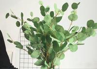 ingrosso alberi artificiali interni-Artificiale argento dollaro foglia di eucalipto Spray in foglie verdi Drop Dollar Tree Indoor esterno giardino casa Diserbo Noth Euro Style