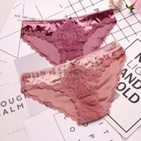 kadife seks toptan satış-SPCITY Avrupa Moda Kadife Dantel Seksi Iç Çamaşırı Kadın Fırfır Oymak Düşük Bel Külot Seks Kasık Pamuk Külot Lingerie