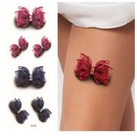 geçici yay dövmeleri toptan satış-Seksi Moda 3D Yay Desen Dövme Etiket Kadınlar Vücut Boya Transferi Geçici Dövmeler