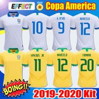 thailand jersey fußball brasilien großhandel-Brazil soccer jersey NEYMAR JR 10# Jerseys TOP Thailand Brasilien Fußball Trikot Brasilien 2019 2020 G.JESUS MARCELO FIRMINO COUTINHO VINICIUS Fußball-Trikot
