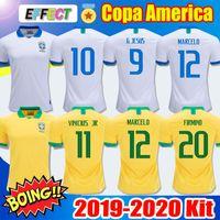 camiseta de fútbol de brasil al por mayor-Camiseta de fútbol de Tailandia Brasil camiseta de futebol copa america 2019 2020 brasil G.JESUS MARCELO FIRMINO COUTINHO VINICIUS camiseta de fútbol