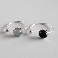 Wholesale silver round beads rings resale online - New Simple Style Sterling Silver Round Beads Black Agate Moon Stone Open Size Rings For Women Statement Adjustable Ring