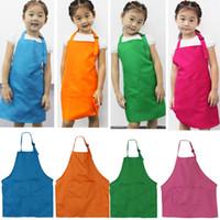 aventais da cozinha das crianças venda por atacado-Crianças Bonitos Planície Avental Crianças Cozinhar Acessório de Cozinha Doces Cor Criança Avental De Cozimento Do Bebê Pintura Bib