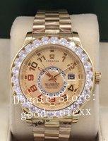 diamante relógio gmt venda por atacado-Luxo Grande Diamante Relógios De Pulso Mens Relógio De Ouro Completa Dos Homens Automático 2813 Anual Calendário Morador Do Céu 326935 GMT vidro De Safira 326938 Relógios