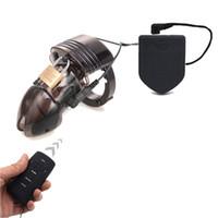 coq anneaux jouets de choc électrique achat en gros de-Cock Cage de dispositif de chasteté pour homme, jouets de sexe anneau de pénis choc électro-télécommande, ceinture de chasteté anneau électrique Cock
